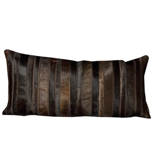 Mina Victory Natural Leather and Hide Sable Throw Pillow by Nourison (14 x 30-inch)