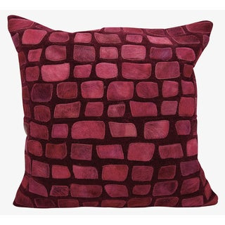 Mina Victory Natural Leather and Hide Pebbles Burgundy Throw Pillow by Nourison (20 x 20-inch)