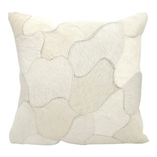 Mina Victory Natural Leather and Hide Jigsaw Puzzle White Throw Pillow by Nourison (20-Inch X 20-Inch)
