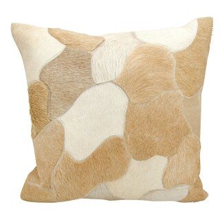 Mina Victory Natural Leather and Hide Jigsaw Puzzle Beige Throw Pillow by Nourison (20 x 20-inch)