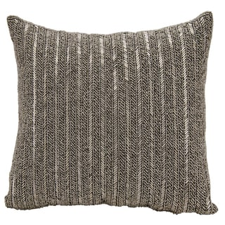 Michael Amini Beaded Stripes Pewter Throw Pillow by Nourison (18 x 18-inch)