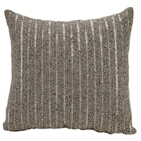 Mina Victory Beaded Stripes Pewter 18 x 18-inch Throw Pillow by Nourison