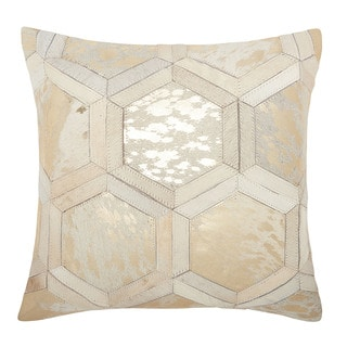 Michael Amini Metallic Hexagon White/ Gold Throw Pillow by Nourison (20 x 20-inch)