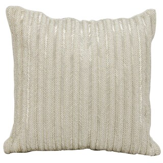 Michael Amini Beaded Stripes Silver Throw Pillow by Nourison (18 x 18-inch)