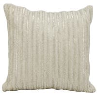 Mina Victory Beaded Stripes SilverThrow Pillow by Nourison (18-Inch X 18-Inch)
