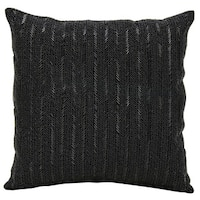 Mina Victory Beaded Stripes BlackThrow Pillow by Nourison (18-Inch X 18-Inch)