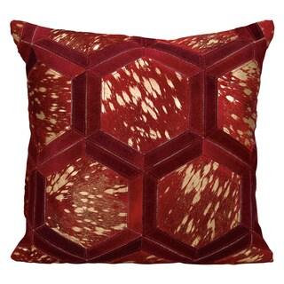 Michael Amini Metallic Hexagon Burgundy/ Gold Throw Pillow by Nourison (20 x 20-inch)