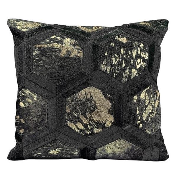 Mina Victory Metallic Hexagon Black/ Gold Throw Pillow by Nourison (20-Inch X 20-Inch)