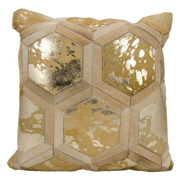 Mina Victory Metallic Hexagon Beige/ Gold Throw Pillow by Nourison (20-Inch X 20-Inch)