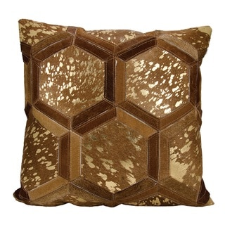 Michael Amini Metallic Hexagon Amber/ Gold Throw Pillow by Nourison (20 x 20-inch)