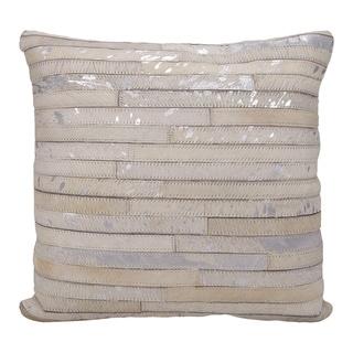 Mina Victory Metallic Thin Stripes White/ Silver 20 x 20-inch Throw Pillow by Nourison