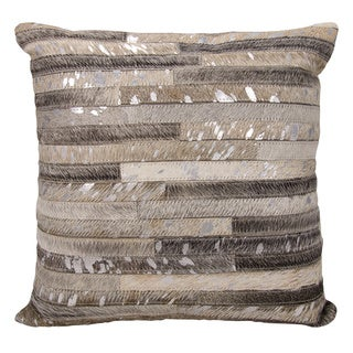 Michael Amini Metallic Thin Stripes Grey/ Silver Throw Pillow by Nourison (20 x 20-inch)