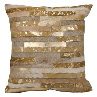 Michael Amini Metallic Thin Stripes Beige/ Gold Throw Pillow by Nourison (20 x 20-inch)