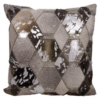 Michael Amini Hexagon Diamonds Grey/ Silver Throw Pillow by Nourison (20 x 20-inch)