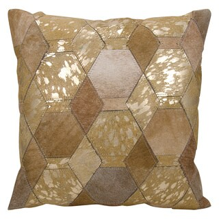 Mina Victory Hexagon Diamonds Beige/ Gold 20 x 20-inch Throw Pillow by Nourison