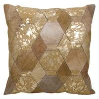 Mina Victory Hexagon Diamonds Beige/ Gold 20 x 20-inch Throw Pillow by Nourison