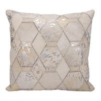 Mina Victory Hexagon Diamonds White/ Silver 20 x 20-inch Throw Pillow by Nourison