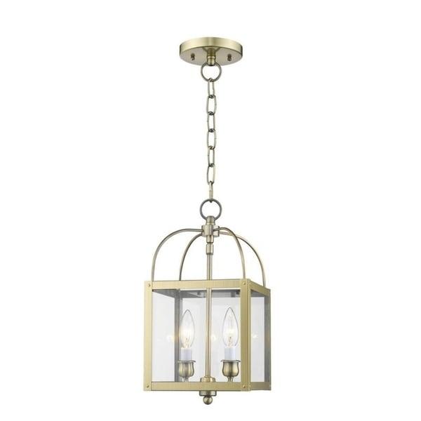 Livex Lighting Milford Antiqued Brass 2-light Hanging Lantern - ANTIQUE BRASS