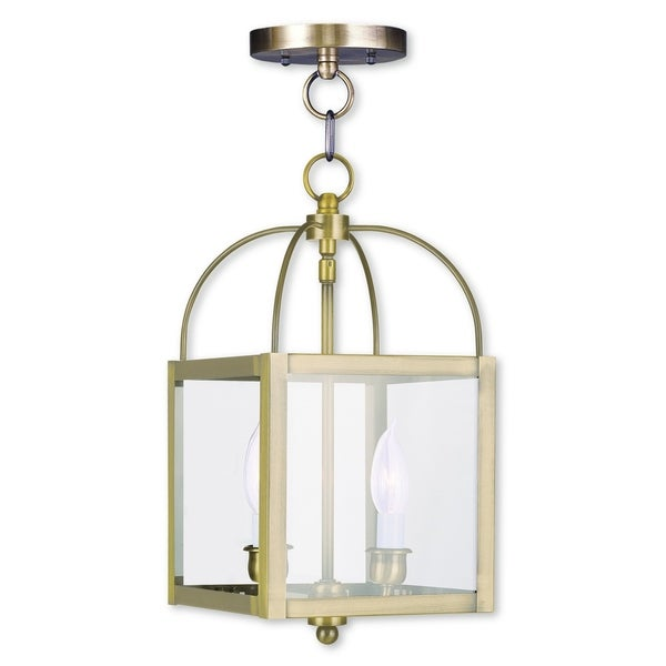Livex Lighting Milford Antiqued Brass 2-light Hanging Lantern - ANTIQUE BRASS