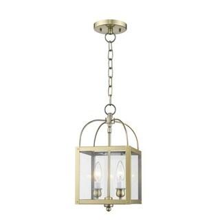 Livex Lighting Milford Antiqued Brass 2-light Hanging Lantern