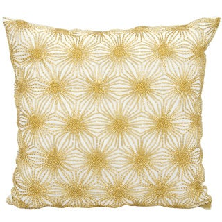 Mina Victory Beaded Sun Stars White/ GoldThrow Pillow by Nourison (16-Inch X 16-Inch)