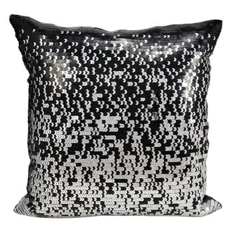 Mina Victory Gradual Sequin Black/ Silver 16 x 16-inch Throw Pillow by Nourison