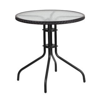 28 Inch Round Tempered Glass Metal Table With Rattan Edging