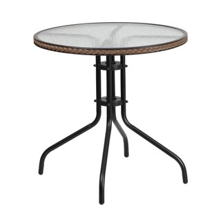 28-inch Round Tempered Glass Metal Table with Rattan Edging