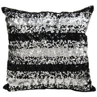 Mina Victory Sequin Stripes Black/ Silver 16 x 16-inch Throw Pillow by Nourison
