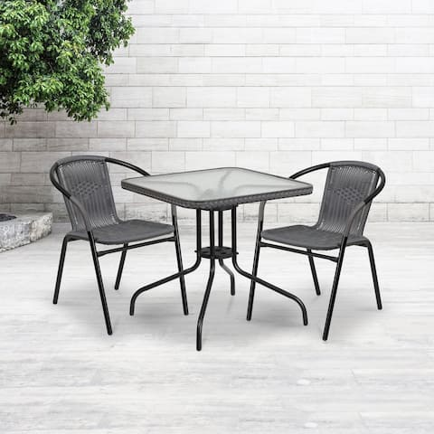 """28"""" Square Tempered Glass Metal Table with Gray Rattan Edging - 28""""W x 28""""D x 28""""H"""