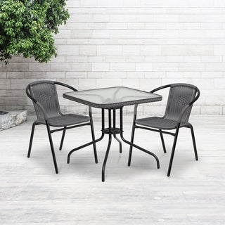 28-inch Square Tempered Glass Metal Table with Rattan Edging