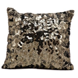 Mina Victory Circle Sequin PewterThrow Pillow by Nourison (18-Inch X 18-Inch)