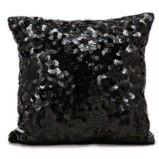 Michael Amini Circle Sequin Black Throw Pillow by Nourison (18 x 18-inch)