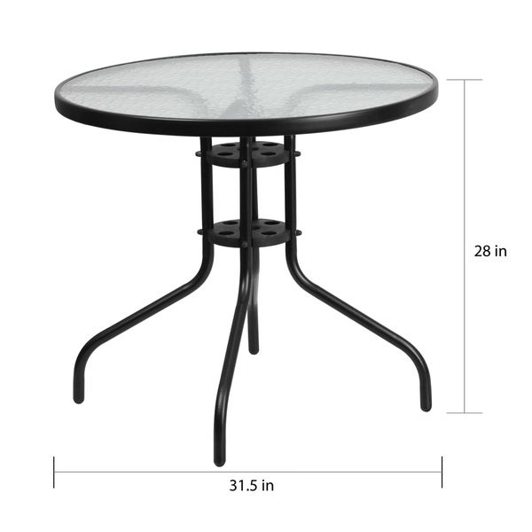 Shop 31.5-inch Round Tempered Glass Metal Table