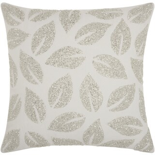 Mina Victory Beaded Leaves Silver 20 x 20-inch Throw Pillow by Nourison
