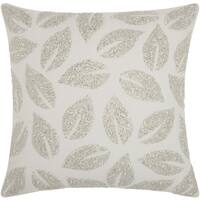 Mina Victory Beaded Leaves Silver Throw Pillow by Nourison (20-Inch X 20-Inch)