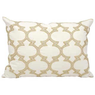 Mina Victory Beaded Lanterns Silver/ GoldThrow Pillow by Nourison (14-Inch X 20-Inch)