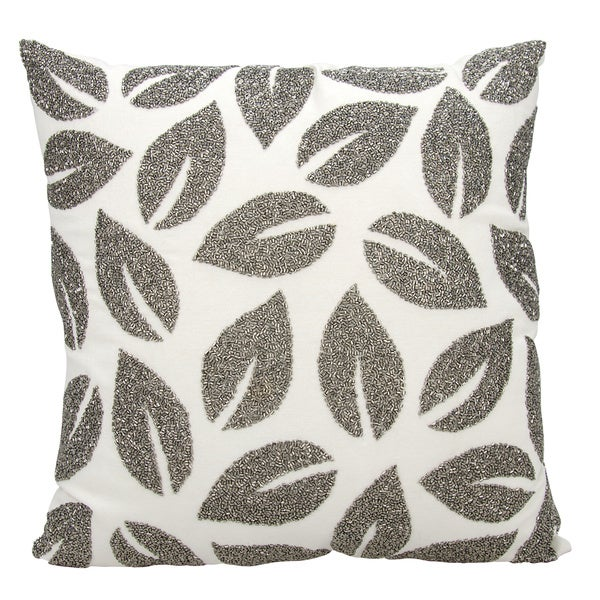 Michael Amini Beaded Leaves Pewter Throw Pillow by Nourison (20-Inch X 20-Inch)