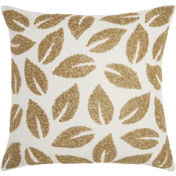 Mina Victory Beaded Leaves Gold Throw Pillow by Nourison (20-Inch X 20-Inch)
