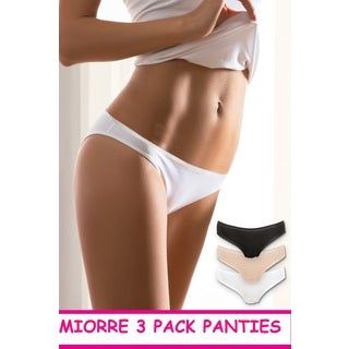Golden Rose Women's Miorre White/Tan/Black Cotton/Elastane Laser Cut Panties (Pack of 3)
