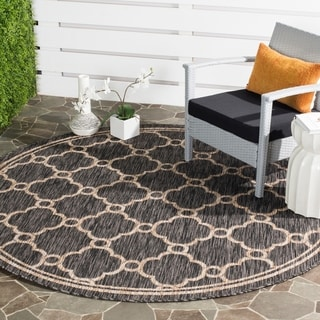 Safavieh Indoor/ Outdoor Courtyard Natural/ Black Rug (6'7 x 6'7 Round)