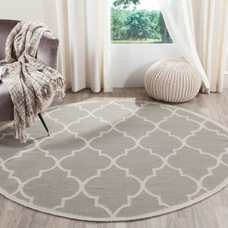 Safavieh Hand-woven Moroccan Dhurries Dark Grey/ Ivory Wool Rug (6' Round)
