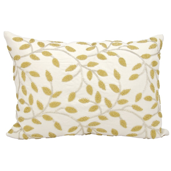 Mina Victory Beaded Vines Silver/ GoldThrow Pillow by Nourison (14-Inch X 20-Inch)