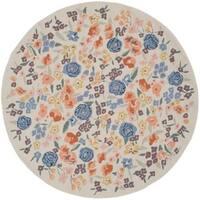 Martha Stewart by Safavieh Watercolor Garden Almond Wool Rug - 6' Round