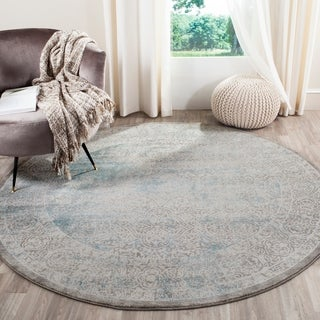 Safavieh Passion Watercolor Vintage Turquoise / Ivory Rug (6' 7 Round)