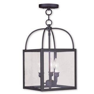 Livex Lighting Milford Deep Bronze Steel 3-light Convertible Chain-hung/Ceiling-mount Lighting Fixture