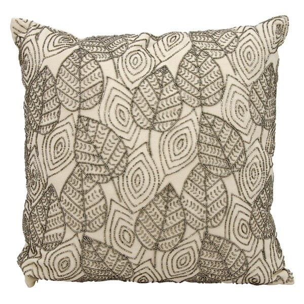 Mina Victory Beaded Leaves Ivory/ Pewter Throw 18 x 18-inch Pillow by Nourison