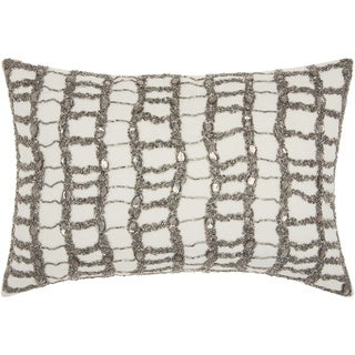 Mina Victory Beaded Ladders Ivory/ PewterThrow Pillow by Nourison (12-Inch X 18-Inch)
