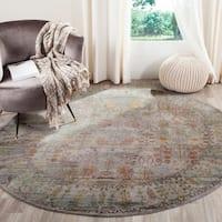Safavieh Valencia Grey/ Multi Distressed Silky Polyester Rug (6'7 Round)