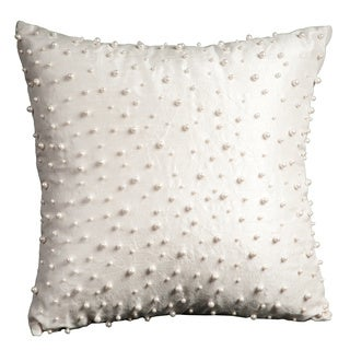 Mina Victory Luminescence Random Pearls Ivory Throw Pillow by Nourison (16 x 16-inch)